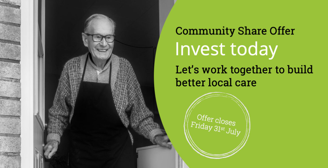 Cooperative Care Colne Valley share offer banner social care provider