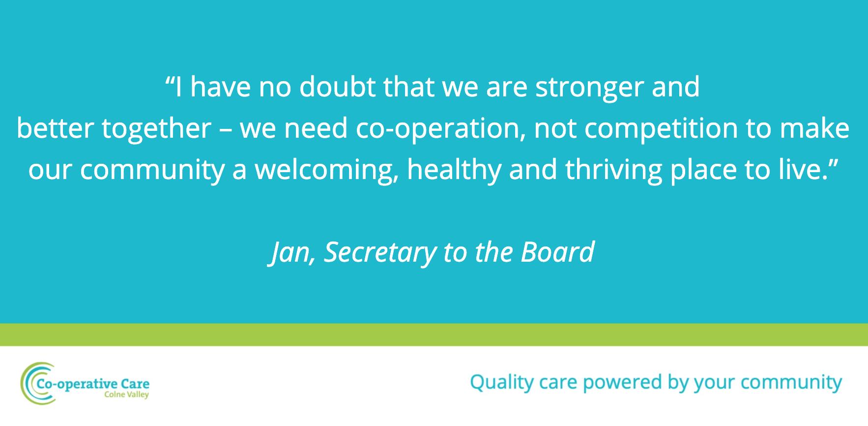 Jan Board Member on Social Care in the Colne Valley